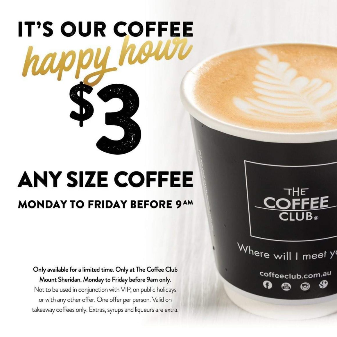$3 Coffee – ANY SIZE